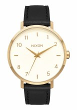 Nixon Arrow Leather, 38 mm Goldtone / Cream / Black