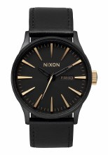 NIXON Sentry Leather 42mm in Matte Black/Gold