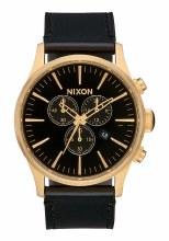 NIXON Sentry Leather Chrono 42mm in All Goldtone/Black
