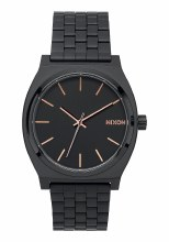 NIXON Time Teller 37mm in All Black/Rose Goldtone