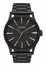 NIXON Sentry Stainless Steel 42mm in All Black/Rose Goldtone