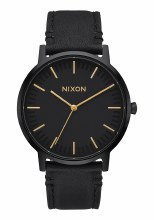 NIXON Porter Leather 40mm in All Black/Goldtone