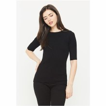 BLACK 3/4 SLEEVE ROUND NECK TO