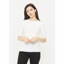 WHITE 3/4 SLEEVE ROUND NECK TO