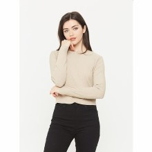 ALMOND LONG SLEEVE BOAT NECK TOP S
