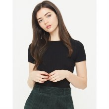 BLACK CRANDON RIBBED CROP TOP S