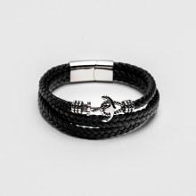 Bronxton Anchor Leather Bracelet