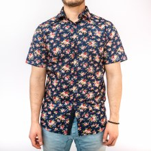 Bronxton Short Sleeve Red-White Rose Print Button-Up Shirt