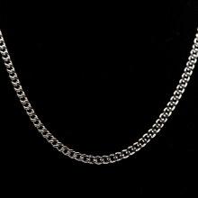 Bronxton Silvertone Steel 4mm Cuban Chain Necklace