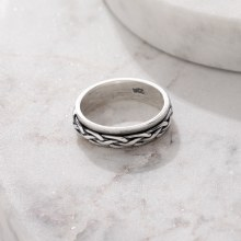 Bronxton 925 Silver Small Rope Ring