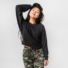 Hyfve Long Sleeve Round Neck Cropped Sweatshirt