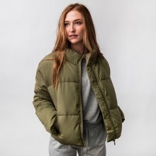 Drawcord Puffer Jacket Olive-Green