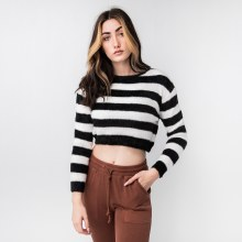 Hyfve Long Sleve Crop Length Wide Stripe Fuzzy Sweater