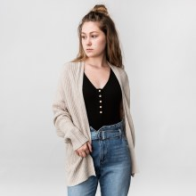 Hyfve XLong Sleeve Drop Shoulder Open Front Cardigan