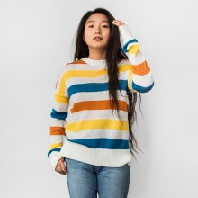 Hyfve Long Sleeve Crew Neck Striped Sweater