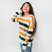 Hyfve Log Sleeve Crew Neck Striped Sweater