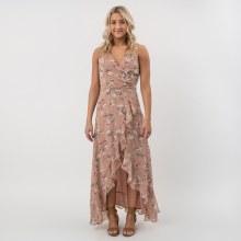 DF Floral Surplice Ruffle Dress