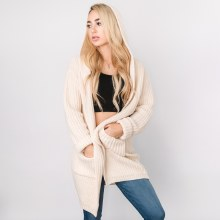 Sand Hooded Open Cardigan