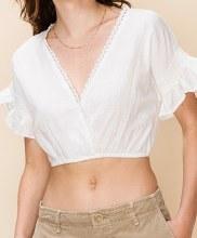 Short-sleeve Surplice Crop Top w/ Crocheted Trim