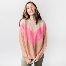 Hyfve Long Sleeve Chevron Stripe Round Neck Knit Sweater