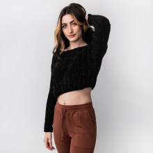 Hyfve Long Sleeve Boat Neck Boxy Cropped Sweater