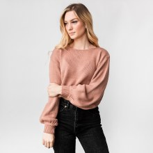 Hyfve Balloon Sleeve Boat Neck Cropped Sweater