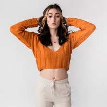 Hyfve Long Sleeve Ribbed V-Neck Crop Sweater