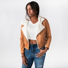 Hyfve Faux Fur-Leather Cropped Biker Jacket