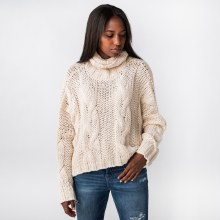 Hyfve Oversize Cable Knit Cropped Turtleneck Sweater