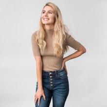 Dress Forum Short Sleeve Ribbed Knit Mock-T Top
