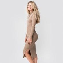 DF Long Sleeve Ribbed Knit Mock-T Midi Dress