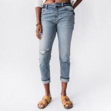 Kan Can Hi-Rise Cuff Hem Mom Jeans