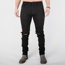 Kayden K Ripped Knee Ankle Zipper Jeans