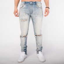 Kayden Distressed Knee Zip-Ankle Denim