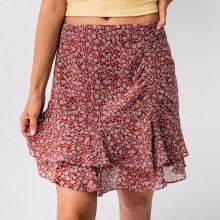 Lush Floral Ruched Ruffled Skirt
