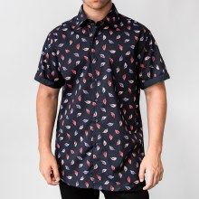 Bronxton Short Sleeve Feather Print Button-Up Shirt