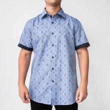Bronxton Short Sleeve Anchors-Aweigh Print Button-Up Shirt