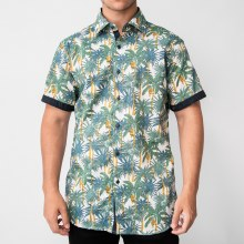 Bronxton Short Sleeve Banana Palm Print Button-Up Shirt