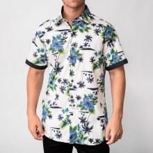 Bronxton Short Sleeve Hibiscus Print Button-Up Shirt