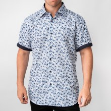 Bronxton Short Sleeve Blue Floral Button-Up Shirt