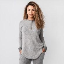 Cherish Long Sleeve Brushed Knit Henley-style Top