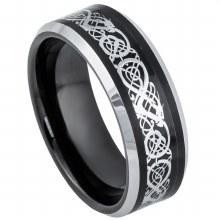 Tungsten Black-n-Steel Celtic Inlay 8mm Ring