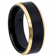 JD Brushed Tungsten Ring Black/Gold