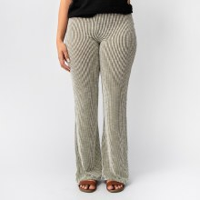 Wasabi Vertical Stripe Ribbed Flare Leg Pants