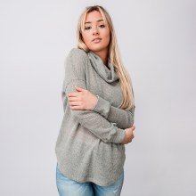 Waffle-knit Cowl-neck Long-sleeve Sweater