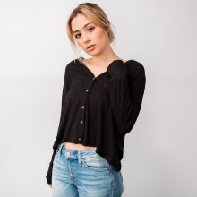 Deep-V 5-button XLong Sleeve Cropped Cardigan