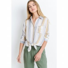 3/4-sleeve Button-down Front-tie Distressed Striped Shirt