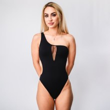 One Shoulder Mesh Detail One Piece