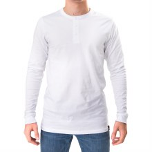 Bronxton White Long Sleeve Simple Henley