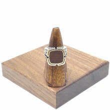 Bronxton 925 Sterling Silver Ring W/ Wood Detail